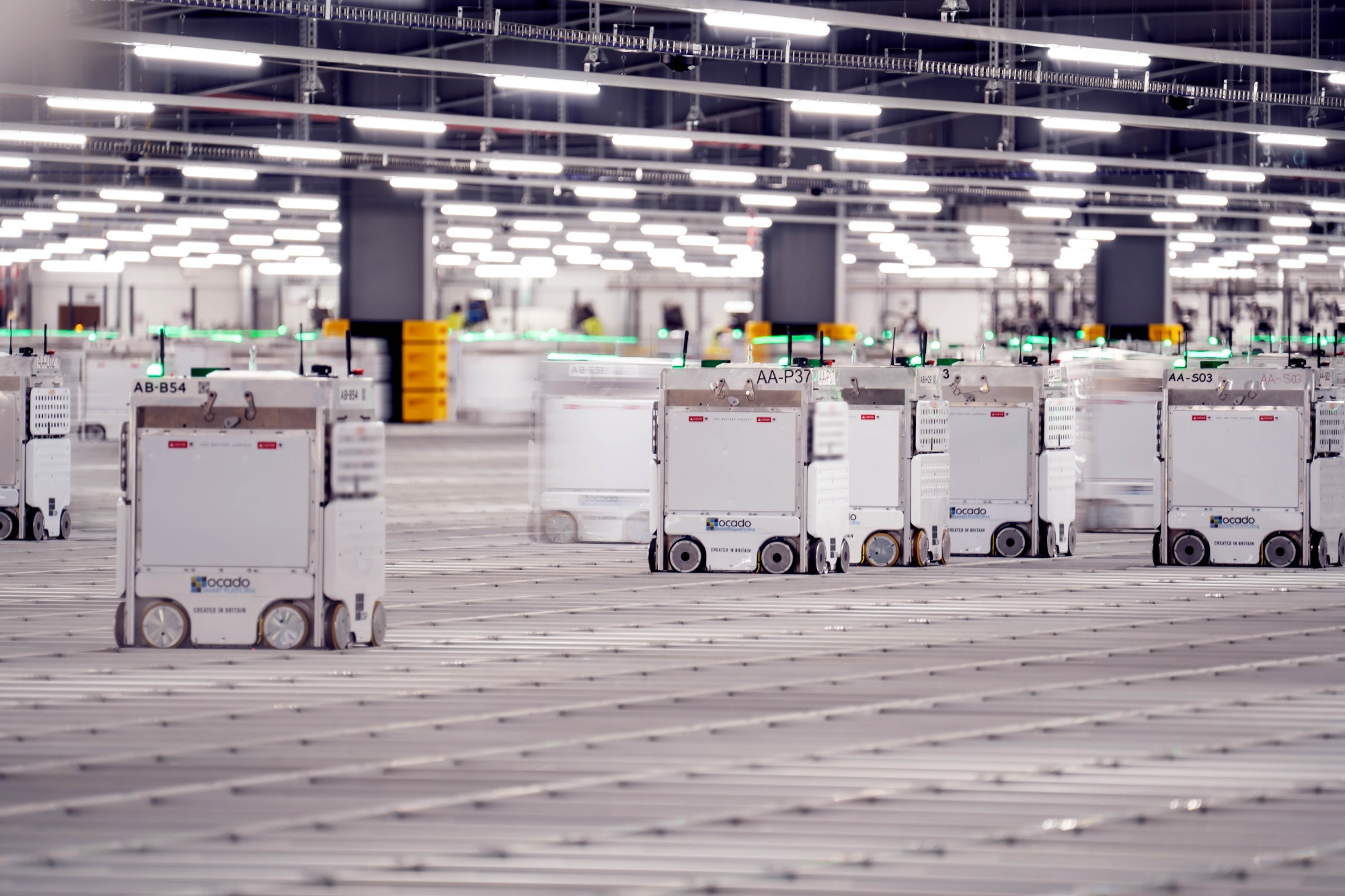 Ocado's automated packing robots.